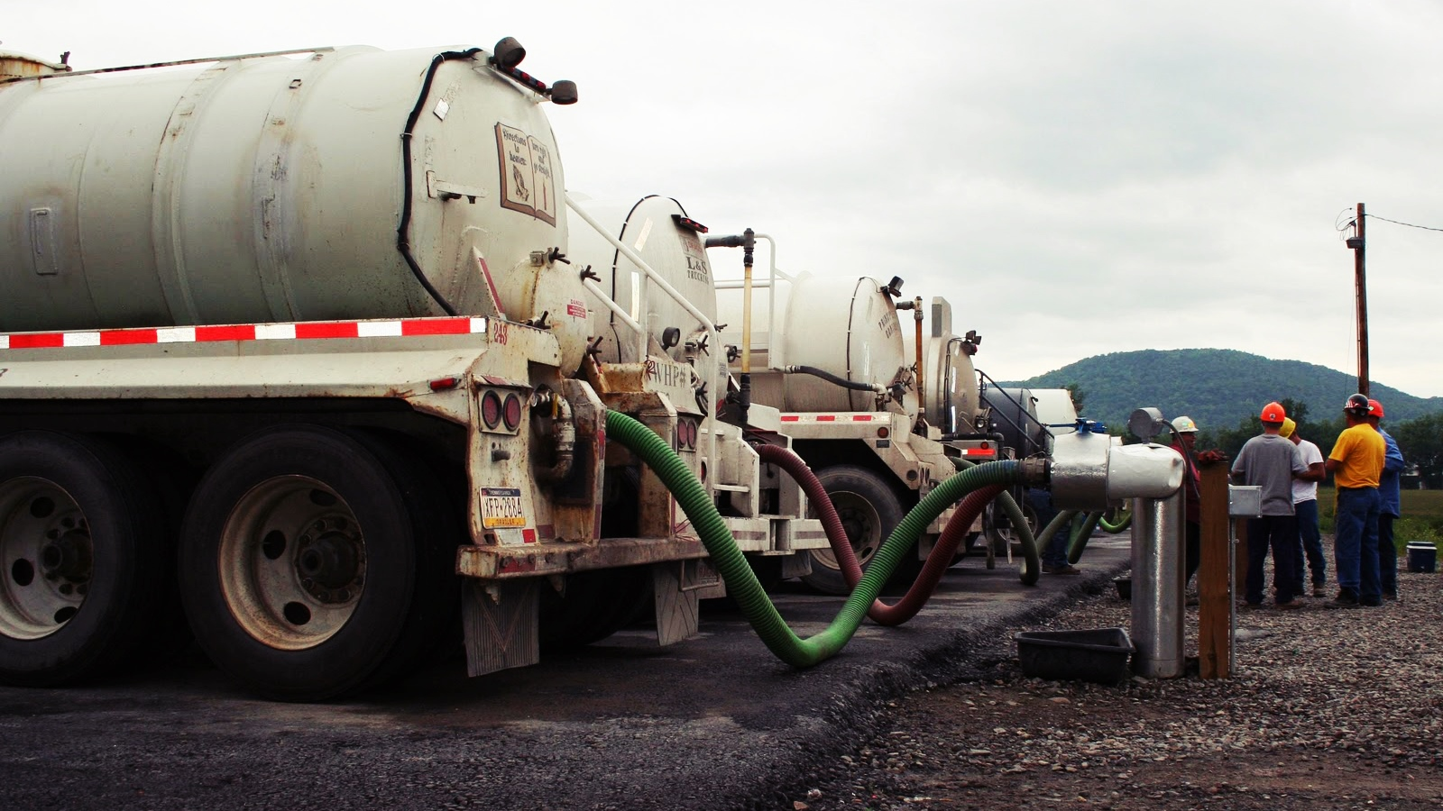 Water hauling trucks fracking
